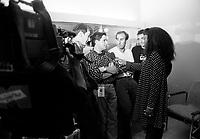 July 1992 File Photo - Juste Pour Rire Festival -  Les Bizarroides give an interview.<br /> In photo : Ken Scott, Stephane E Roy, Martin Petit, Guy A Levesque