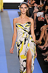 Daiane walks runway in a brushstroke crepe strapless draped gown, by Monique Lhuillier, from the Monique Lhuillier Spring 2012 collection fashion show, during Mercedes-Benz Fashion Week Spring 2012.