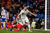 3rd February 2019, Santiago Bernabeu, Madrid, Spain; La Liga football, Real Madrid versus Alaves; Karim Benzema (Real Madrid)  celebrates his goal which made it 1-0 in the 30th minute