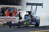 Oct. 5, 2012; Mohnton, PA, USA: NHRA top fuel dragster driver Larry Dixon during qualifying for the Auto Plus Nationals at Maple Grove Raceway. Mandatory Credit: Mark J. Rebilas-