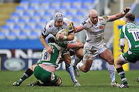 Thomas Waldrom of Exeter Chiefs takes on the London Irish defence. Aviva Premiership match, between London Irish and Exeter Chiefs on February 21, 2016 at the Madejski Stadium in Reading, England. Photo by: Patrick Khachfe / JMP