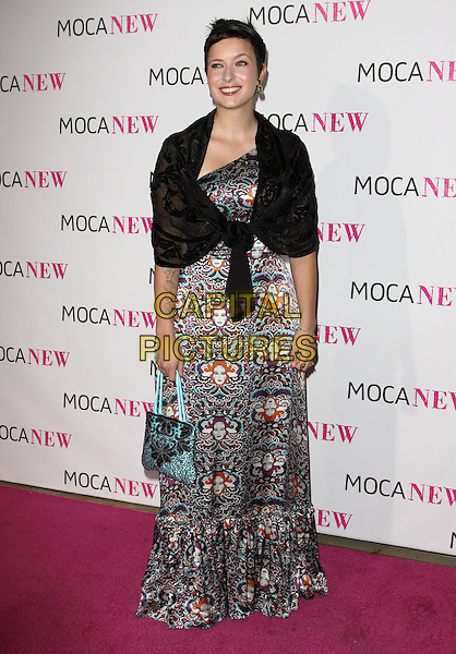 DIABLO CODY .At MOCA's 30th Anniversary Gala held at MOCA, Los Angeles, California, USA, 14th November 2009. .full length black blue print pattern long maxi dress turquoise wrap shawl tied sheer .CAP/ADM/KB.©Kevan Brooks/AdMedia/Capital Pictures.