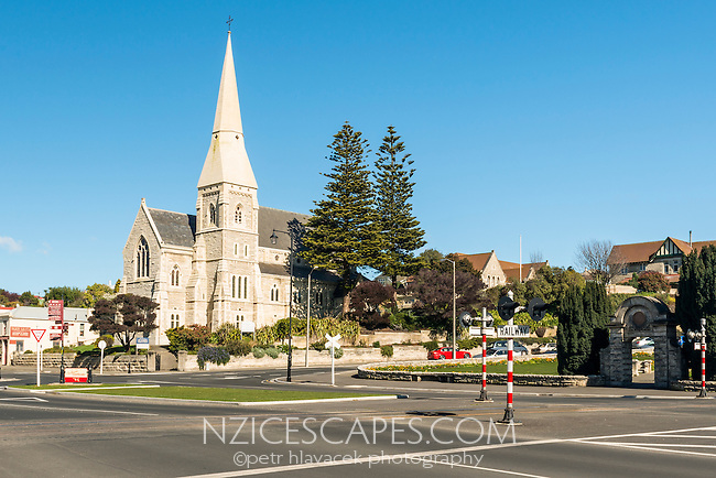 Town centre of Oamaru with church, Coastal Otago, East Coast, New Zealand