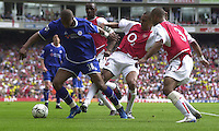 Premiership Football - Arsenal v Leicester City:.2003/04 Season - 15/05/2004  [Record breaking Season undefeated] .Leicester's Marcus Bent, looks to go round Arsenal's Ashly Cole right and Gilberto [centre]. .[Credit] Peter Spurrier Intersport Images