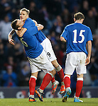 Lee McCulloch and Dean Shiels celebrate after goal no 4