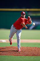 Philadelphia Phillies Alexis Rivero (80) delivers a pitch during a Florida Instructional League game against the New York Yankees on October 12, 2018 at Spectrum Field in Clearwater, Florida.  (Mike Janes/Four Seam Images)