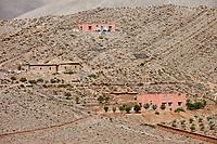 Dades Gorge, Morocco.  Village Houses on Hillside.