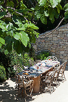 A dining table laid for an al fresco lunch under the shade of a fig tree on the terrace