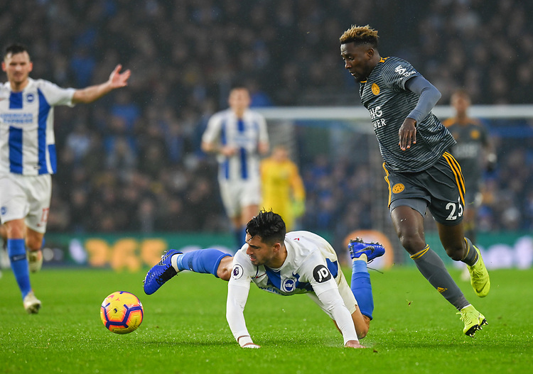 Brighton & Hove Albion's Beram Kayal (left) is fouled by Leicester City's Wilfred Ndidi (right) <br /> <br /> Photographer David Horton/CameraSport<br /> <br /> The Premier League - Brighton and Hove Albion v Leicester City - Saturday 24th November 2018 - The Amex Stadium - Brighton<br /> <br /> World Copyright © 2018 CameraSport. All rights reserved. 43 Linden Ave. Countesthorpe. Leicester. England. LE8 5PG - Tel: +44 (0) 116 277 4147 - admin@camerasport.com - www.camerasport.com