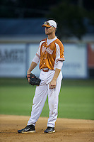 Asheboro Copperheads first baseman Justin Bellinger (23) on defense against the High Point-Thomasville HiToms at Finch Field on June 12, 2015 in Thomasville, North Carolina.  The HiToms defeated the Copperheads 12-3. (Brian Westerholt/Four Seam Images)