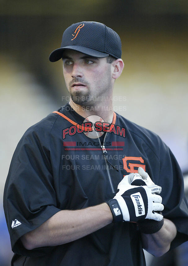 Tony Torcato of the San Francisco Giants before a 2002 MLB season game against the Los Angeles Dodgers at Dodger Stadium, in Los Angeles, California. (Larry Goren/Four Seam Images)
