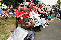 Pictured: Labour party supporters. Sunday 01 July 2018<br /> Re: Labour Party leader Jeremy Corbyn at the celebration for the 70 years since the National Health Service (NHS) was founded by Aneurin Bevan, Bedwellty Park, Tredegar, Wales, UK.