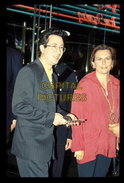 JENNIFER SAUNDERS & BEMN ELTON.Ref:2108.gray suit jacket, grey suit jacket, pink top, gold chain, half length, half-length.RAW SCAN - PHOTO WILL BE ADJUSTED FOR PUBLICATION.www.capitalpictures.com.sales@capitalpictures.com.©Capital Pictures.