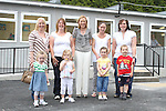 Principal Catherine Tiernan Bell with Michelle and Megan Heeney, Jackie Byrne, Kelsie Healy, Debbie Matthews, Sophie Rock with Fiona and Cillian Bolger at the Open Day for the new Scoil Olibhear Naofa, Ballymakenny Road...Picture Jenny Matthews/Newsfile.ie