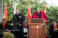 Recognition of Election to Emeritus Status - President Jonathan Veitch and Eric Newhall '67<br /> Families, friends, faculty, staff and distinguished guests celebrate the class of 2019 during Occidental College's 137th Commencement ceremony on Sunday, May 19, 2019 in the Remsen Bird Hillside Theater.<br /> (Photo by Marc Campos, Occidental College Photographer)