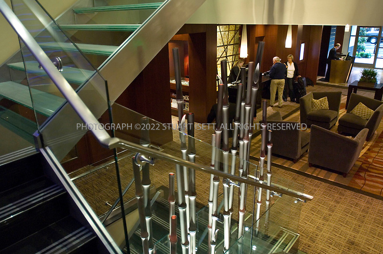 9/21/2006--Seattle, WA, USA..The main lobby at the Hotel 1000, a new futuristic hotel that opened in downtown Seattle in July, 2006. The hotel was developed to be Seattle's finest luxury boutique hotel...Photograph By Stuart Isett.All photographs ©2006 Stuart Isett.All rights reserved.