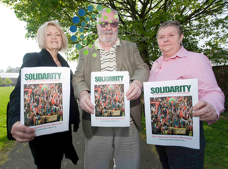 Lynn Sheridan,( central list) Hugh Kerr,(south scotland list) Pat Smith(lothian list) pictured at the Daisy park community centre Motherwell on the launc of Solidarity Scotland socialist manifesto. Picture/ Johnny Mclauchlan/Universalnews,22/04/2011