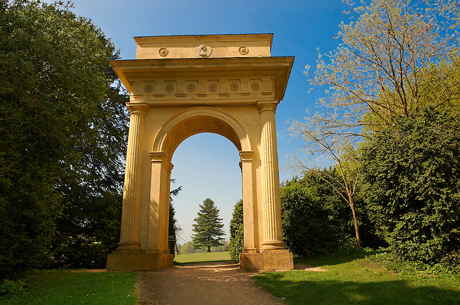 Neo-Classic Doric arch folly in the English landscape gardens of Stowe, designed by Capability Brown. Buckingham, England