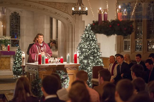 Dec. 15, 2013; Rev. James King, C.S.C. celebrates Candlelight Mass in Alumni Hall chapel.<br /> <br /> Photo by Matt Cashore/University of Notre Dame
