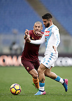 Roma&rsquo;s Bruno Peres, left, and Napoli&rsquo;s Lorenzo Insigne fight for the ball during the Serie A soccer match between Roma and Napoli at the Olympic stadium, 4 March 2017.<br /> UPDATE IMAGES PRESS/Isabella Bonotto