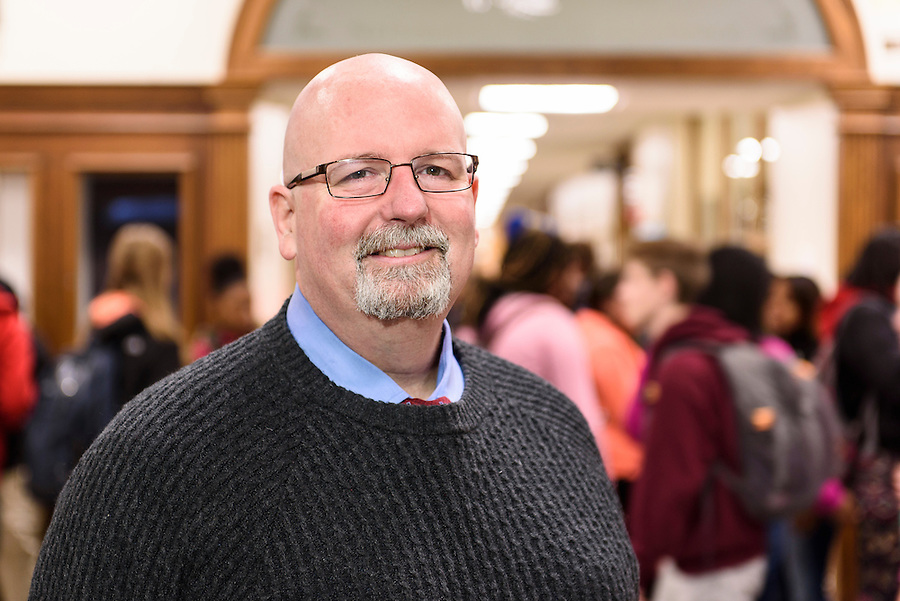 Interim Assistant Principal Rob Mueller-Owens is pictured at West High School in Madison, Wis., on Dec. 7, 2015. Formerly, Mueller-Owens was a positive behavior support coach at East High School. (Photo by Jeff Miller, www.jeffmillerphotography.com)