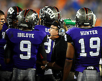 Jan. 4, 2010; Glendale, AZ, USA; TCU Horned Frogs head coach Gary Patterson talks to his players in the huddle against the Boise State Broncos in the 2010 Fiesta Bowl at University of Phoenix Stadium. Boise State defeated TCU 17-10. Mandatory Credit: Mark J. Rebilas-