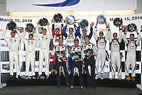 Class winners pose for a group shot after winning the 12 Hours of Sebring, Sebring International Raceway, Sebring, FL, March 2014.  (Photo by Brian Cleary/www.bcpix.com)