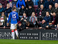 26th January 2020, Tynecastle Park, Edinburgh, Scotland; Scottish Premier League football, Hearts of Midlothian versus Rangers; Jon Flanagan of Rangers gets a rude welcome from hearts fans