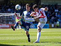 Dan Holman of Cheltenham Town and Dominic Gape of Wycombe Wanderers during the Sky Bet League 2 match between Wycombe Wanderers and Cheltenham Town at Adams Park, High Wycombe, England on the 8th April 2017. Photo by Liam McAvoy.