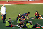 MADRID (24/05/09).- The Spanish Soccer national team has officially begun their hunt for the championship, arriving in the Madrid municipality of Las Rozas to begin preparing for South Africa World Cup.  Vicente del Bosque, Sergio Ramos, Alvaro Arbeloa, Pedro Rodriguez and Iker Casillas...PHOTO: Cesar Cebolla / ALFAQUI
