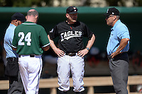 Edgewood Eagles head coach Al Brisack during the lineup exchange before the second game of a doubleheader against the Plymouth State Panthers on March 17, 2015 at Terry Park in Fort Myers, Florida.  Edgewood defeated Plymouth State 9-2.  (Mike Janes/Four Seam Images)