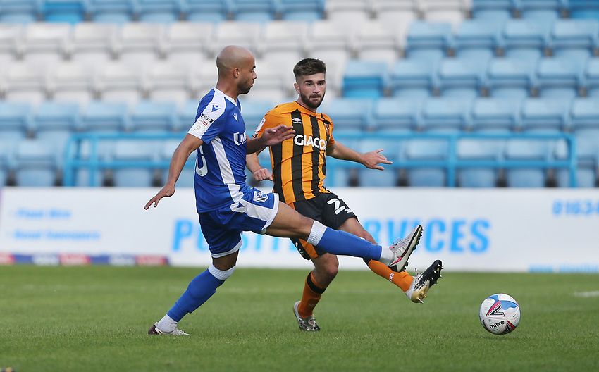 Gillingham's Jordan Graham and Hull City's Brandon Fleming<br /> <br /> Photographer Rob Newell/CameraSport<br /> <br /> The EFL Sky Bet League One - Gillingham v Hull City - Saturday September 12th 2020 - Priestfield Stadium - Gillingham<br /> <br /> World Copyright © 2020 CameraSport. All rights reserved. 43 Linden Ave. Countesthorpe. Leicester. England. LE8 5PG - Tel: +44 (0) 116 277 4147 - admin@camerasport.com - www.camerasport.com