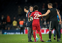 Bayern Munich manager Niko Kovač with Serge Gnabry of Bayern Munich at full time during the UEFA Champions League group match between Tottenham Hotspur and Bayern Munich at Wembley Stadium, London, England on 1 October 2019. Photo by Andy Rowland.