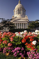AJ3684, Olympia, State Capitol, State House, Washington, Colorful flowers adorn the grounds of the State Capitol building on the Capitol Campus in the capital city of Olympia in the state of Washington.