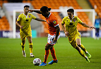 Blackpool's Sean Scannell gets past Morecambe's Luke Conlan<br /> <br /> Photographer Alex Dodd/CameraSport<br /> <br /> EFL Leasing.com Trophy - Northern Section - Group G - Blackpool v Morecambe - Tuesday 3rd September 2019 - Bloomfield Road - Blackpool<br />  <br /> World Copyright © 2018 CameraSport. All rights reserved. 43 Linden Ave. Countesthorpe. Leicester. England. LE8 5PG - Tel: +44 (0) 116 277 4147 - admin@camerasport.com - www.camerasport.com