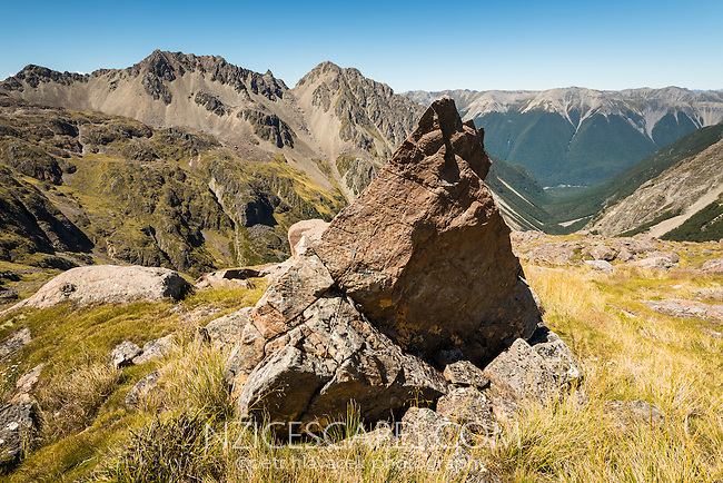 Alpine views of St. Arnaud Ranges, Nelson Lake National Park, South Island, New Zealand, NZ