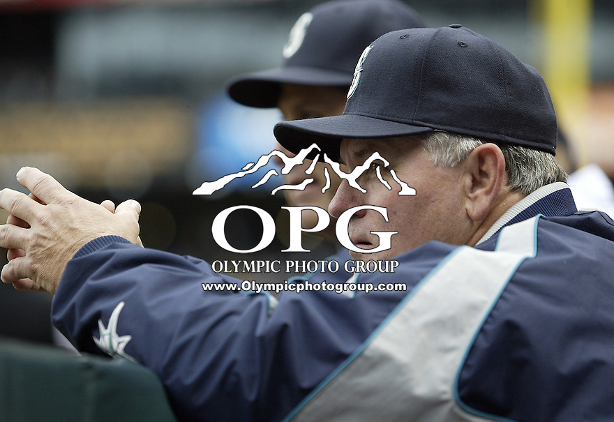 10 April 2005: Seattle Mariners s coach Mike Hargrove watches his team warm up before the start of the game against the Texas Ranger at Safeco field in Seattle, WA.