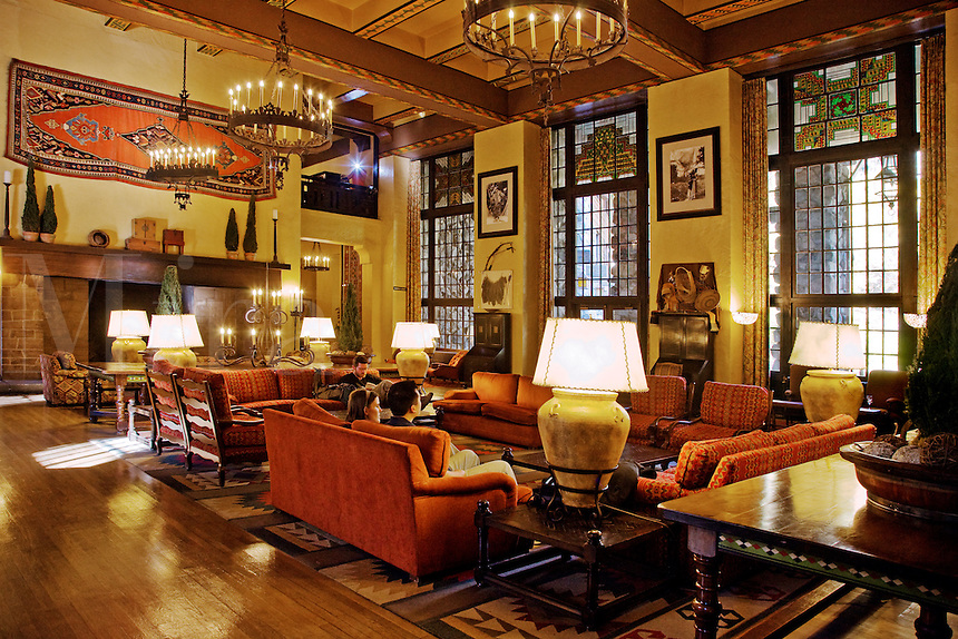 The grand SITTING ROOM of the  AHWAHNEE HOTEL,  built in 1925 and was designed by architect Gilbert Stanley Underwood - YOSEMITE NATIONAL PARK, CALIFORNIA