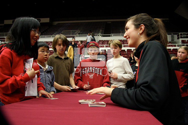 STANFORD, CA - JANUARY 29:  Morgan Clyburn of the Stanford Cardinal signs autographs during Stanford's 81-53 win over the USC Trojans on January 29, 2009 at Maples Pavilion in Stanford, California.
