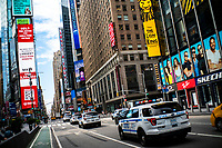 "NEW YORK, NEW YORK - SEPTEMBER 3: NYPD cars patrol at Times Square on September 3, 2020 in New York. U.S. President Trump has ordered to the federal government to begin the process to defund NYC and three other cities where protest ""lawless"" were allowed and police budgets were cut, rising violent crime. (Photo by Eduardo MunozAlvarez/VIEWpress via GettyImages)"