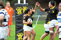 Ayesha Leti-l'iga celebrates a try during the Farah Palmer Cup women's provincial rugby match between Wellington Pride  and Auckland at Jerry Collins Stadium / Porirua Park, Wellington, New Zealand on Saturday, 23 September 2017. Photo: Dave Lintott / lintottphoto.co.nz