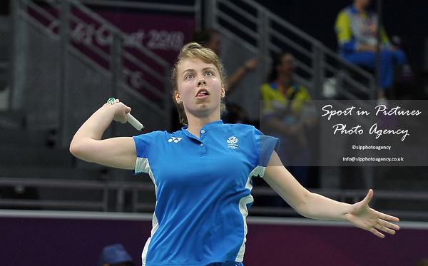 Julie MACPHERSON (SCO) smashes in the womens doubles. Badminton. Mixed team event. XXI Commonwealth games. Carrara Sports hall 2. Gold Coast 2018. Queensland. Australia. 05/04/2018. ~ MANDATORY CREDIT Garry Bowden/SIPPA - NO UNAUTHORISED USE - +44 7837 394578