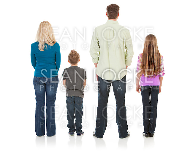 Isolated on white series of a Caucasian nuclear family in casual wear, and fitness clothing.  Mom, dad, brother and sister..
