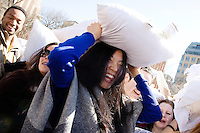 A massive pillow fight in celebration of International Pillow Fight Day at Washington Square Park in New York City, New York on April 6, 2013.