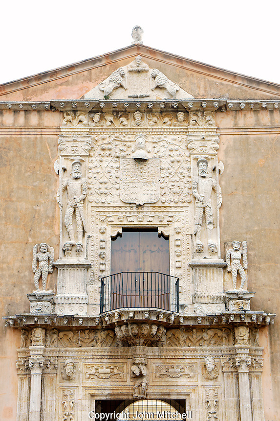 Plateresque facade of the 16th century Casa de Montejo on Plaza Grande, Merida, Yucatan, Mexico.