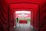 27 April 2007: A view through the player entry tunnel across the field, including the maple leaf in the seats of the East Stand.  BMO Field in Toronto, Ontario, Canada on the day before it was scheduled open with the inaugural home match of Major League Soccer expansion team Toronto FC.