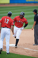 Erie SeaWolves left fielder Christin Stewart (35) rounds third base after hitting a home run in the bottom of the fifth inning during a game against the Hartford Yard Goats on August 6, 2017 at UPMC Park in Erie, Pennsylvania.  Erie defeated Hartford 9-5.  (Mike Janes/Four Seam Images)