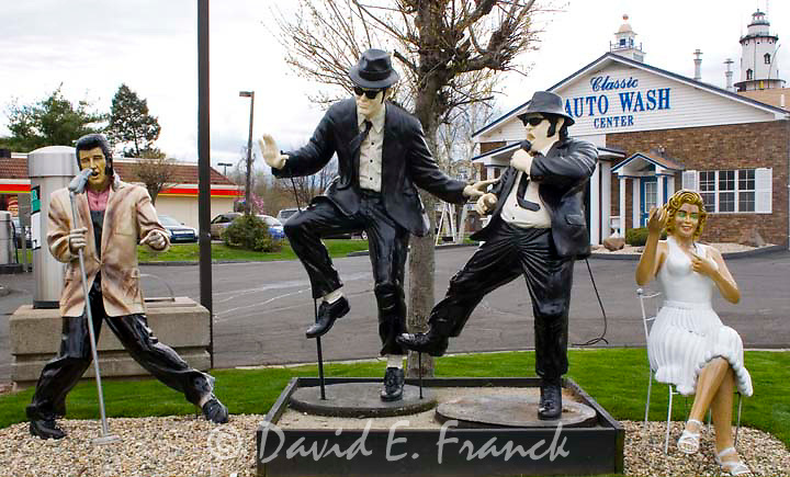Elvis Presley the Blues Brothers and Marilyn Monroe at the Classic Auto Wash in Cromwell CT