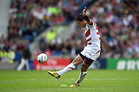 Ayumu Goromaru of Japan kicks for the posts. Rugby World Cup Pool B match between South Africa and Japan on September 19, 2015 at the Brighton Community Stadium in Brighton, England. Photo by: Patrick Khachfe / Onside Images