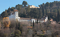 The Generalife, summer palace and country estate and gardens of the Nasrid kings, built in the 14th century under Muhammad III, 1302ñ1309 and redecorated by Abu I-Walid Isma'il, 1313-1324, Alhambra Palace, Granada, Andalusia, Southern Spain. The Alhambra was begun in the 11th century as a castle, and in the 13th and 14th centuries served as the royal palace of the Nasrid sultans. The huge complex contains the Alcazaba, Nasrid palaces, gardens and Generalife. Picture by Manuel Cohen